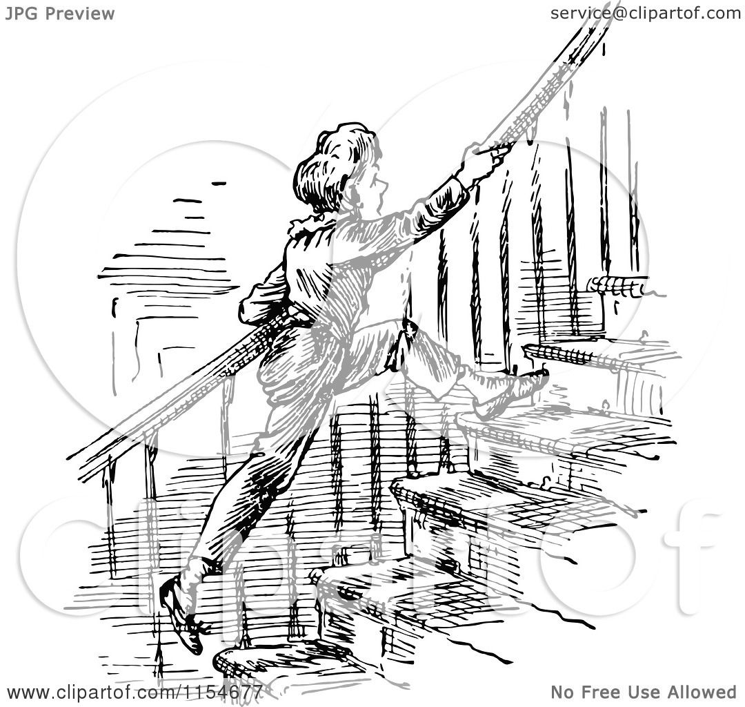 Clipart Of A Retro Vintage Black And White Boy Running Up