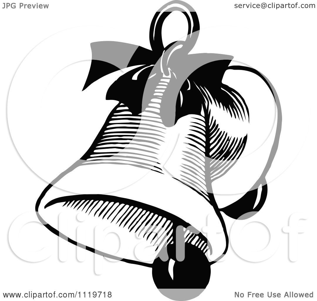 Clipart Of A Retro Vintage Black And White Christmas Bell