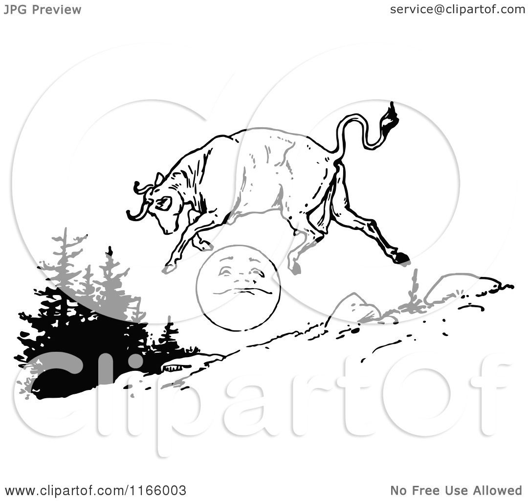 Clipart Of A Retro Vintage Black And White Cow Jumping