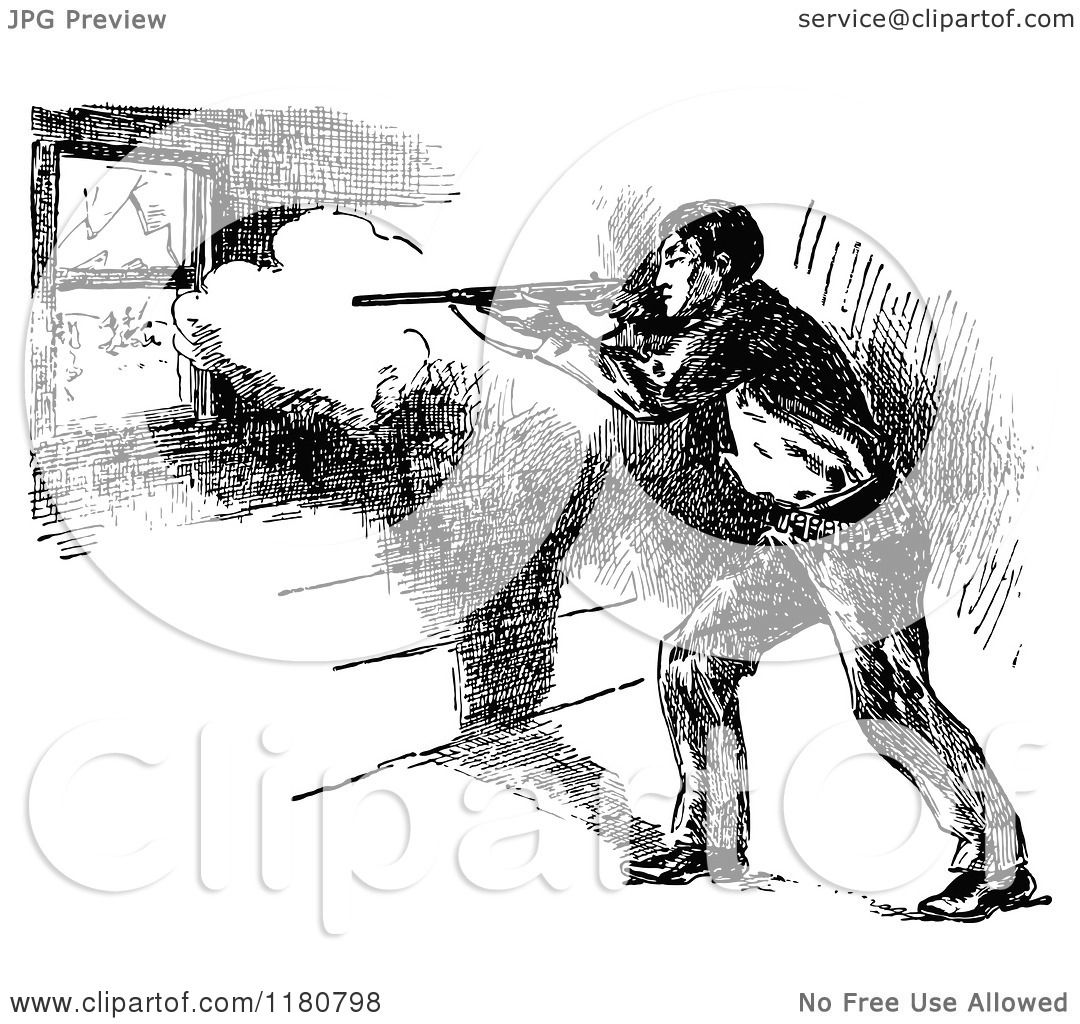 Clipart of a Retro Vintage Black and White Cowboy Shooting
