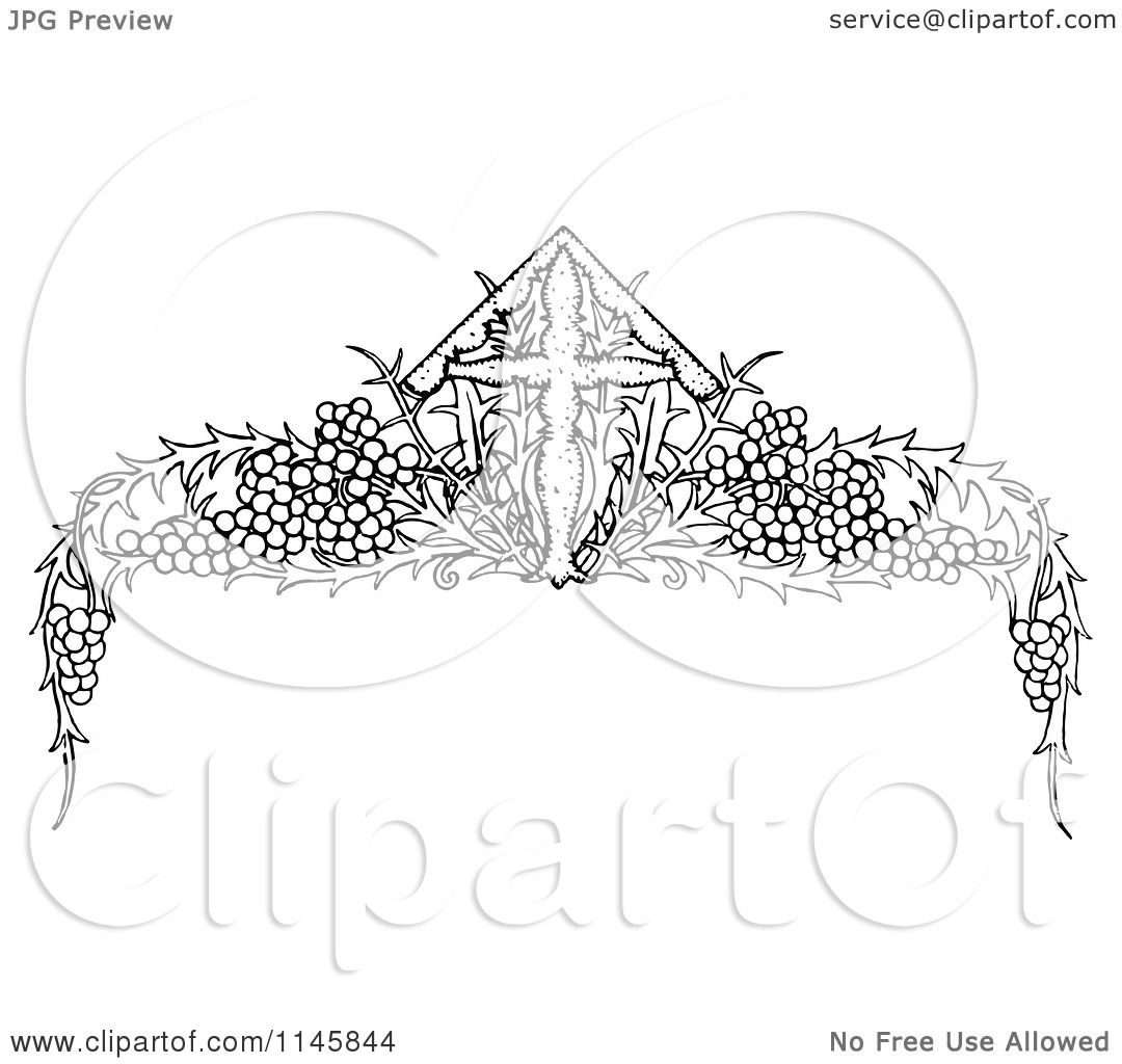 Clipart Of A Retro Vintage Black And White Cross And Gvine Page Border