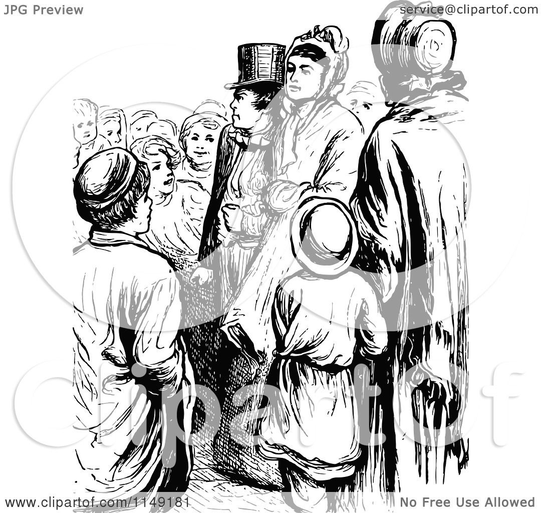 Clipart Of A Retro Vintage Black And White Crowd Of People