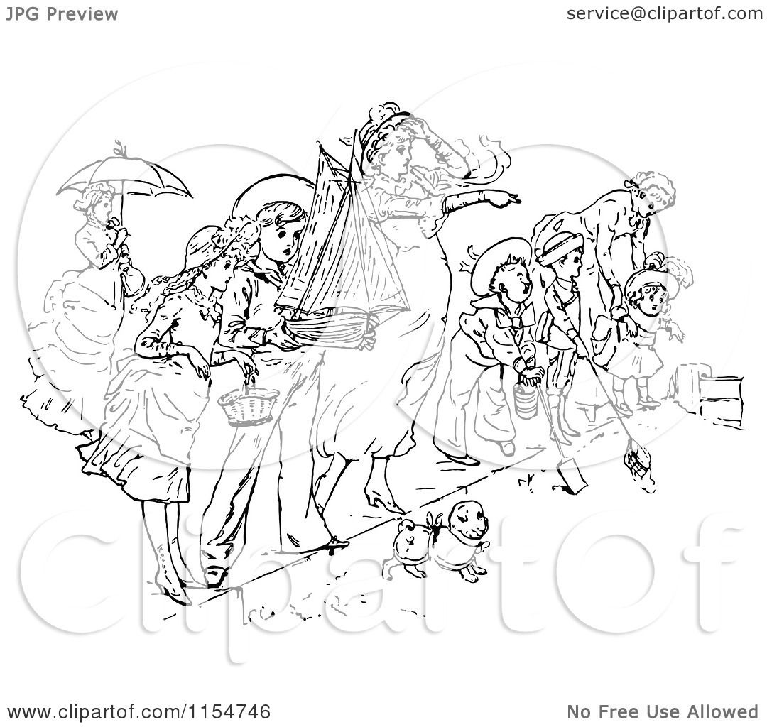 Clipart Of A Retro Vintage Black And White Crowd On A