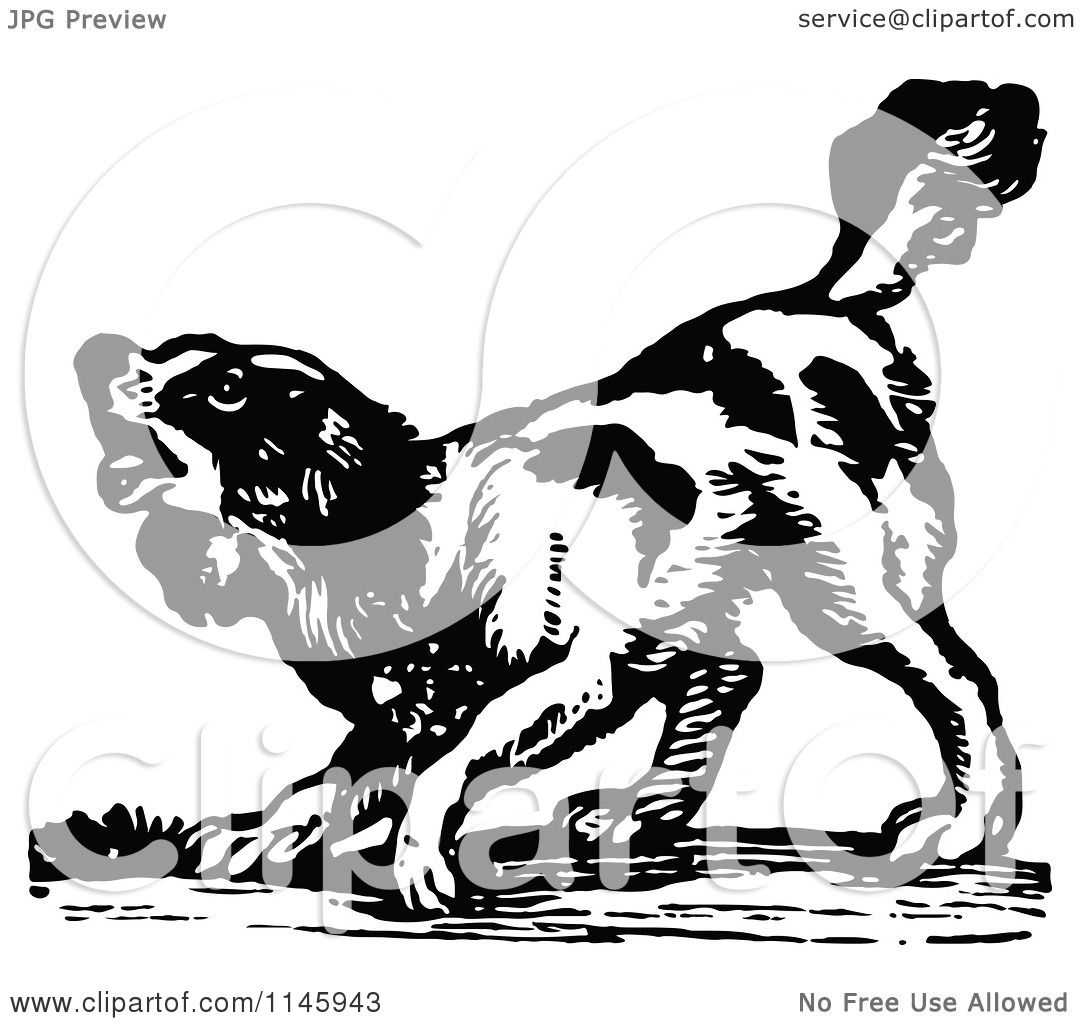 Clipart Of A Retro Vintage Black And White Dog Barking