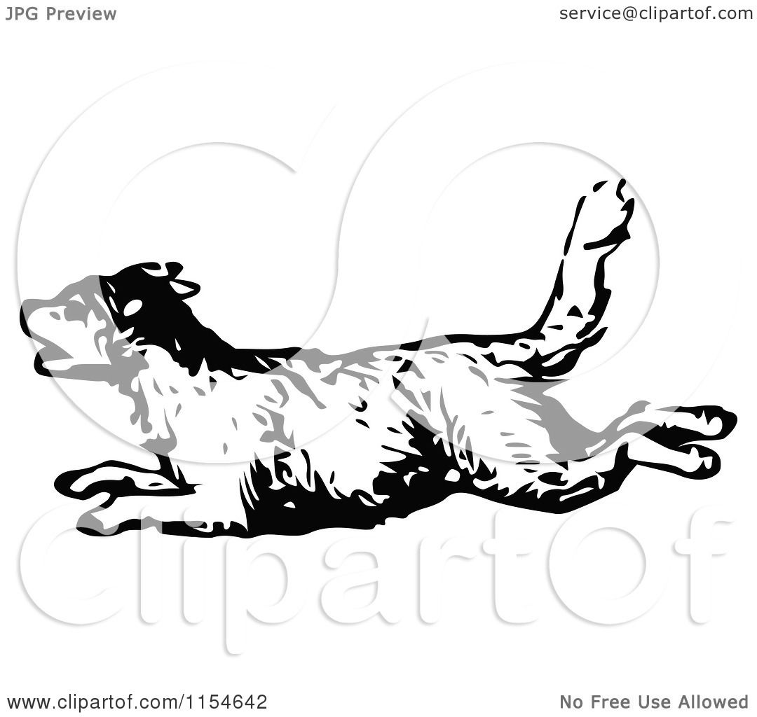 Clipart Of A Retro Vintage Black And White Dog Running