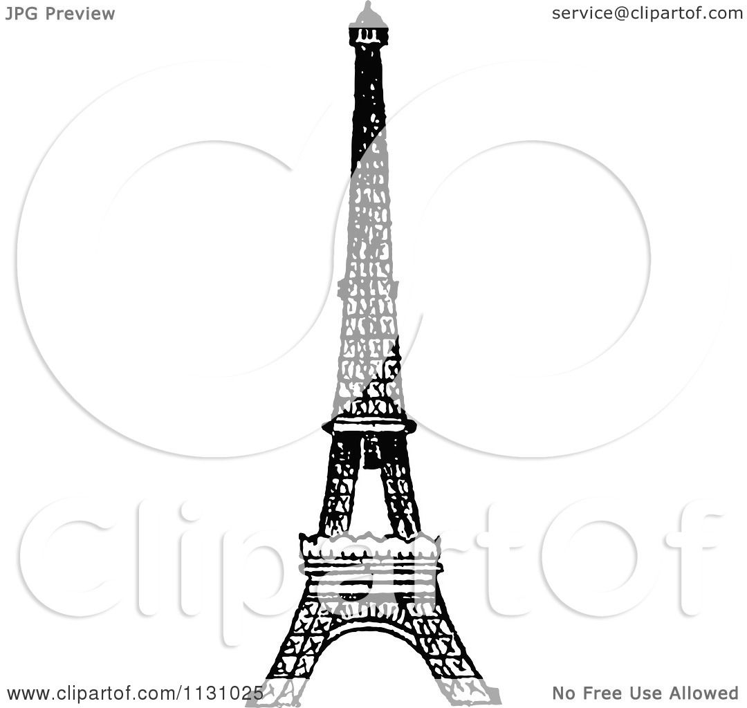 Clipart Of A Retro Vintage Black And White Eiffel Tower