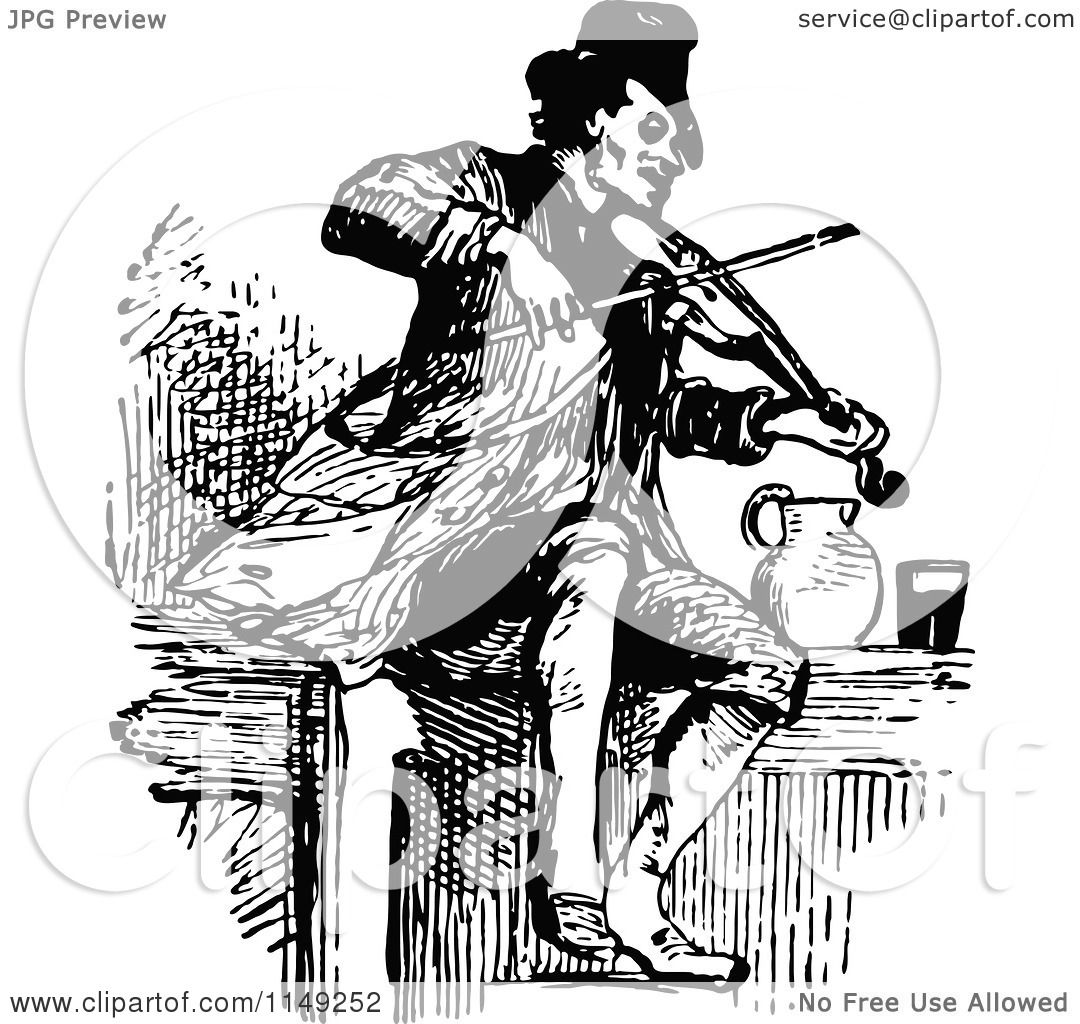 Clipart of a Retro Vintage Black and White Fiddler