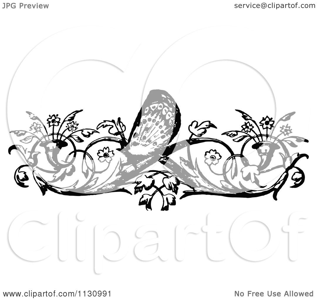 Clipart Of A Retro Vintage Black And White Floral Butterfly Border
