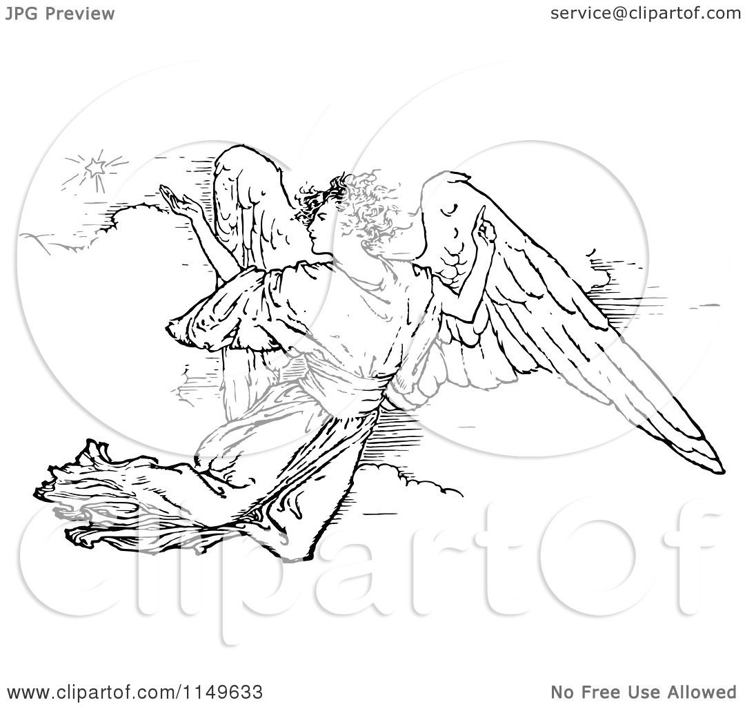Clipart Of A Retro Vintage Black And White Flying Angel