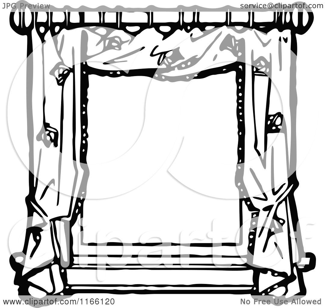 Clipart Of A Retro Vintage Black And White Frame Of Window