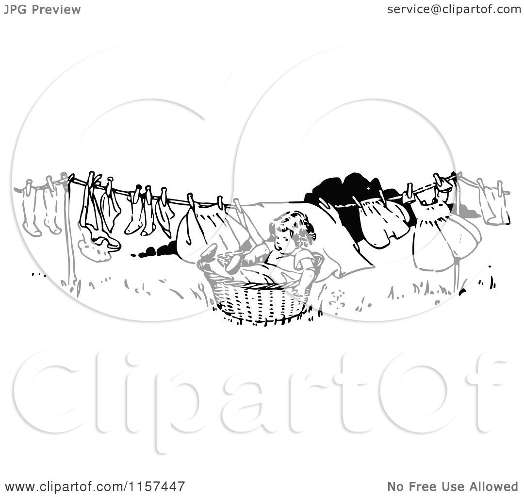 Clipart Of A Retro Vintage Black And White Girl In A Basket Under A Laundry Clothes Line