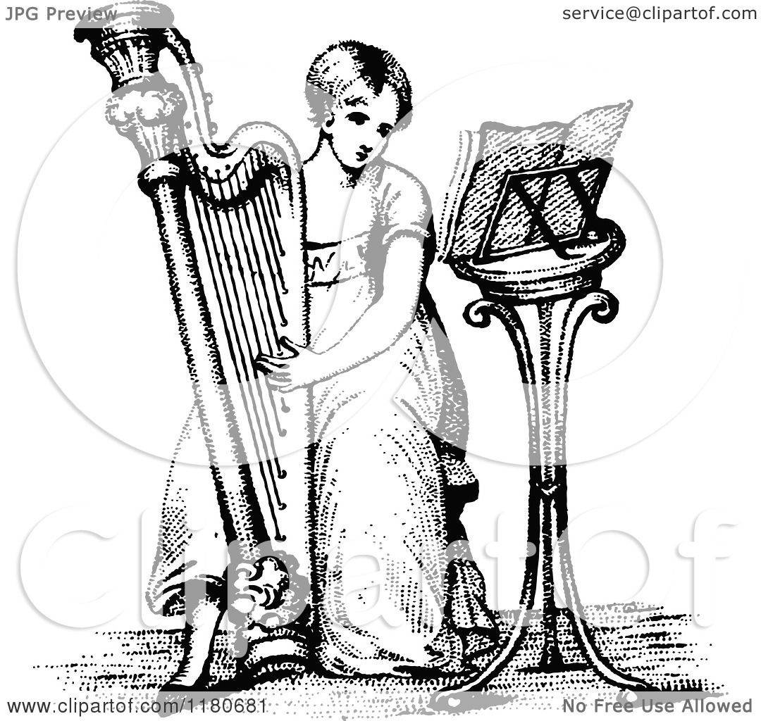 Clipart Of A Retro Vintage Black And White Girl Playing A