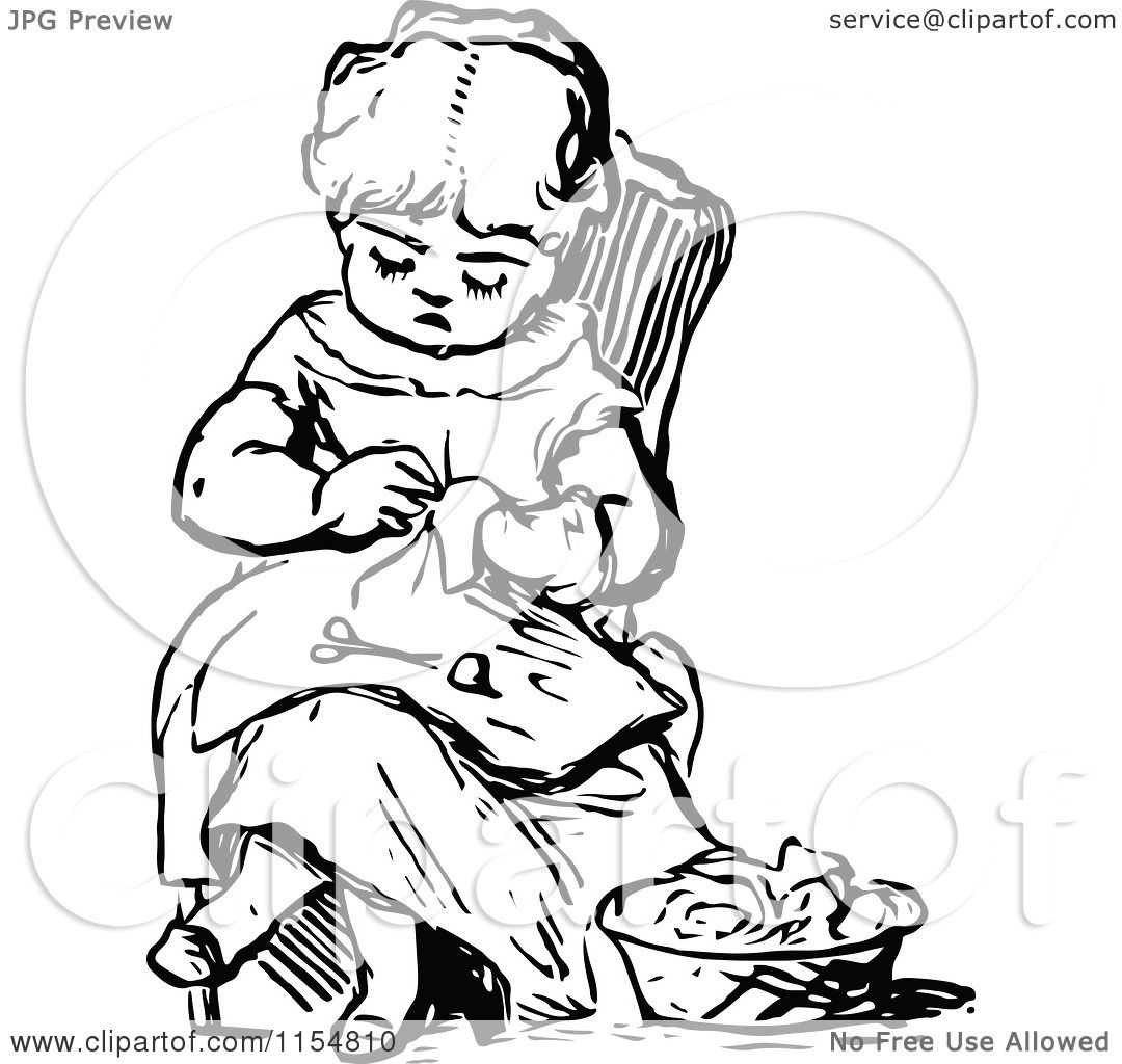 Clipart Of A Retro Vintage Black And White Girl Sewing
