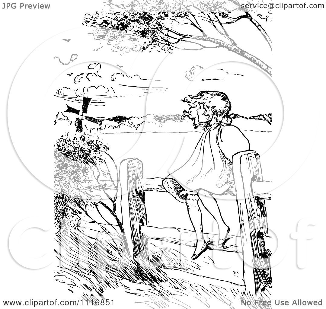 Clipart Of A Retro Vintage Black And White Girl Sitting On A Country Fence On A Windy Day