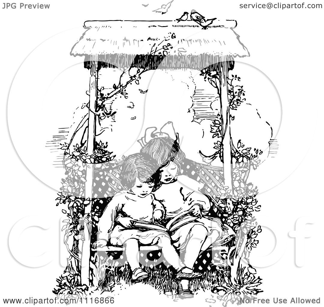 Clipart Of A Retro Vintage Black And White Girls Reading A