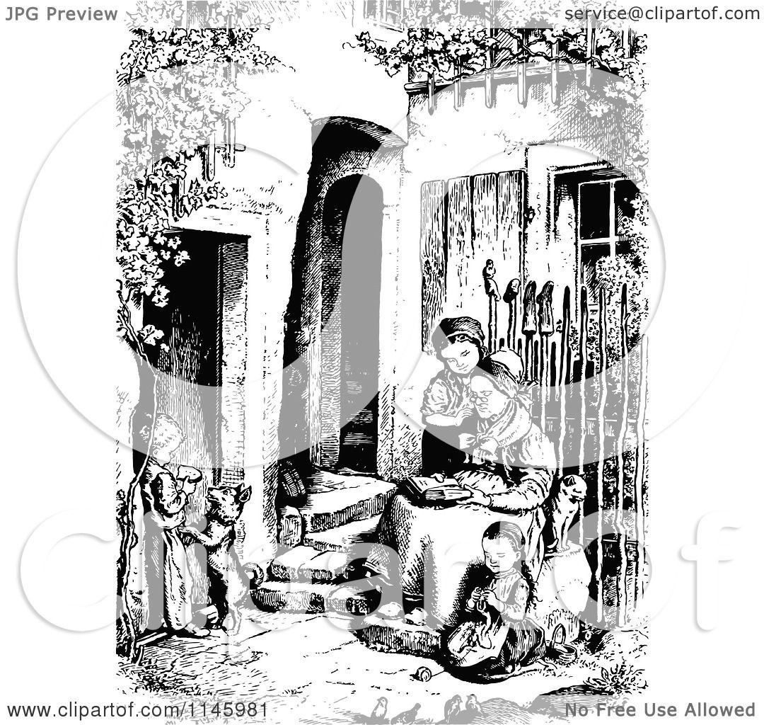 Clipart of a Retro Vintage Black and White Granny Reading