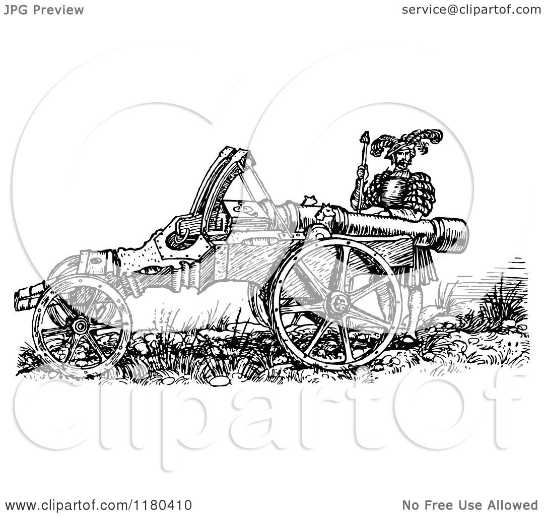 Clipart Of A Retro Vintage Black And White Great Cannon