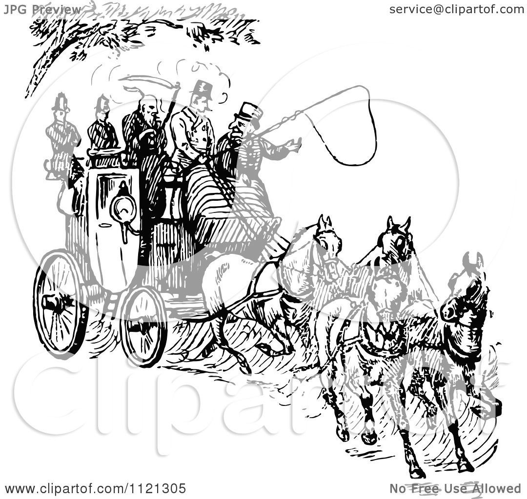 Clipart Of A Retro Vintage Black And White Horse Drawn