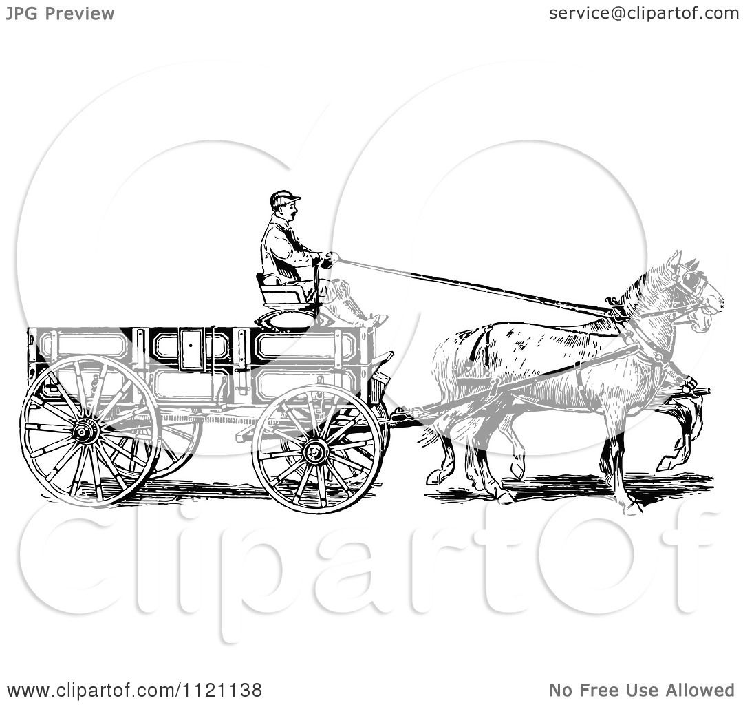 Clipart Of A Retro Vintage Black And White Horse Pulling A