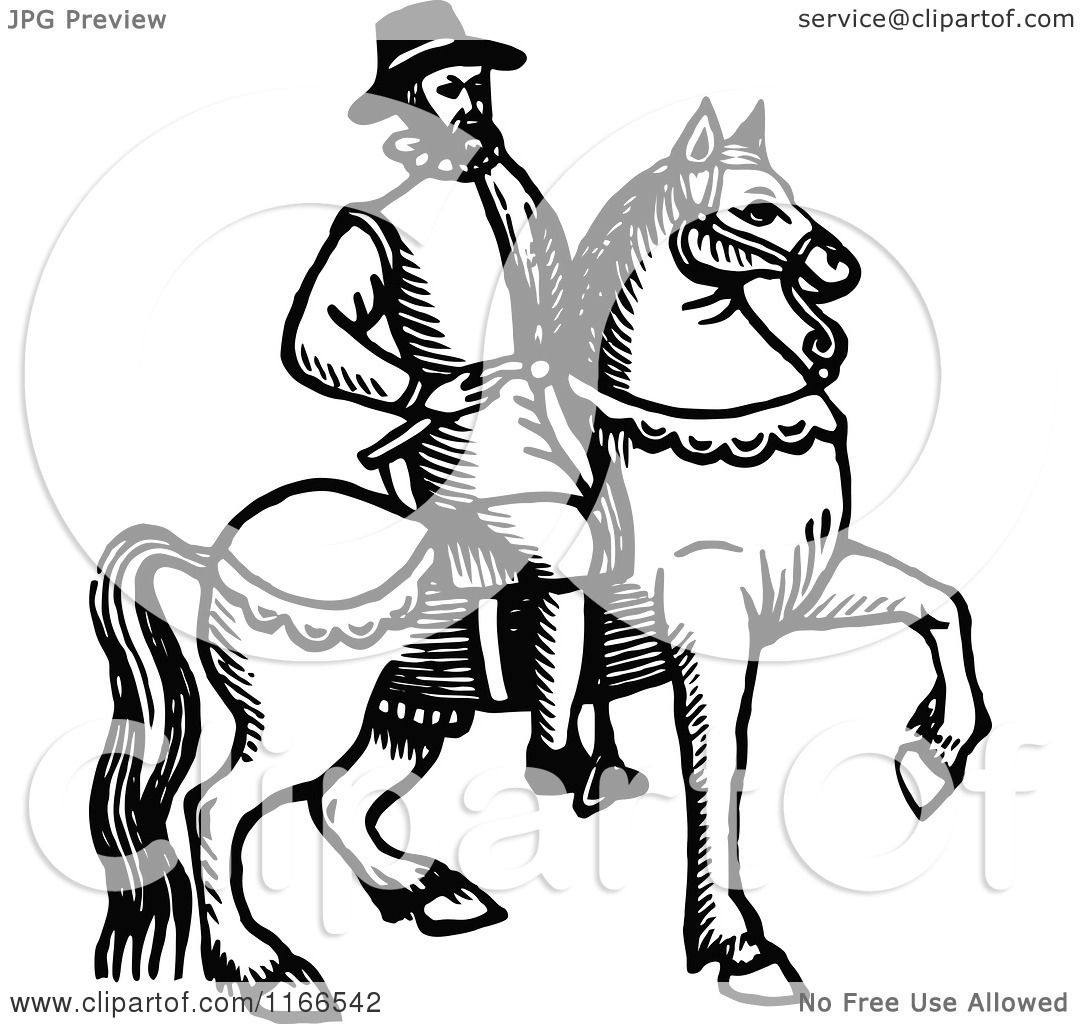 Clipart Of A Retro Vintage Black And White Horseback Man