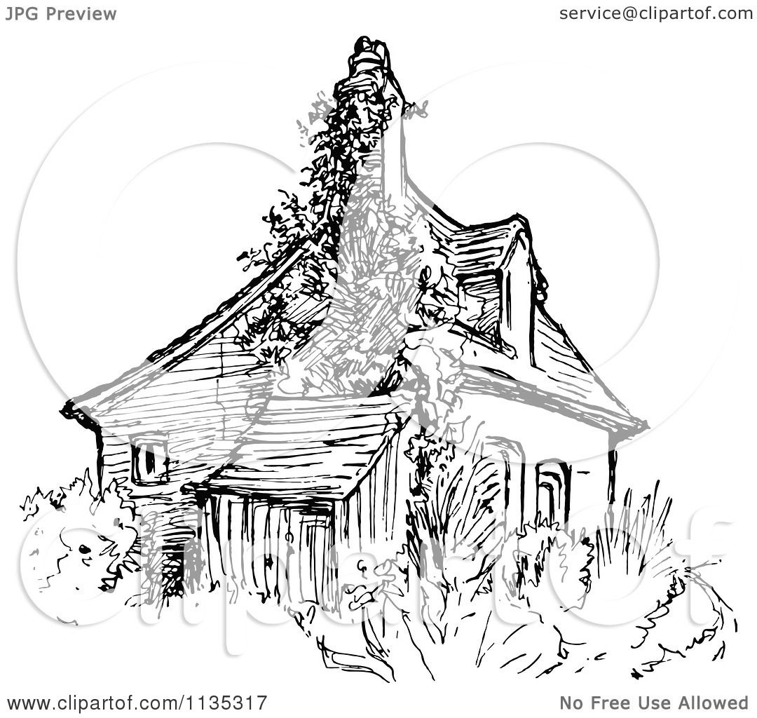 Clipart Of A Retro Vintage Black And White House