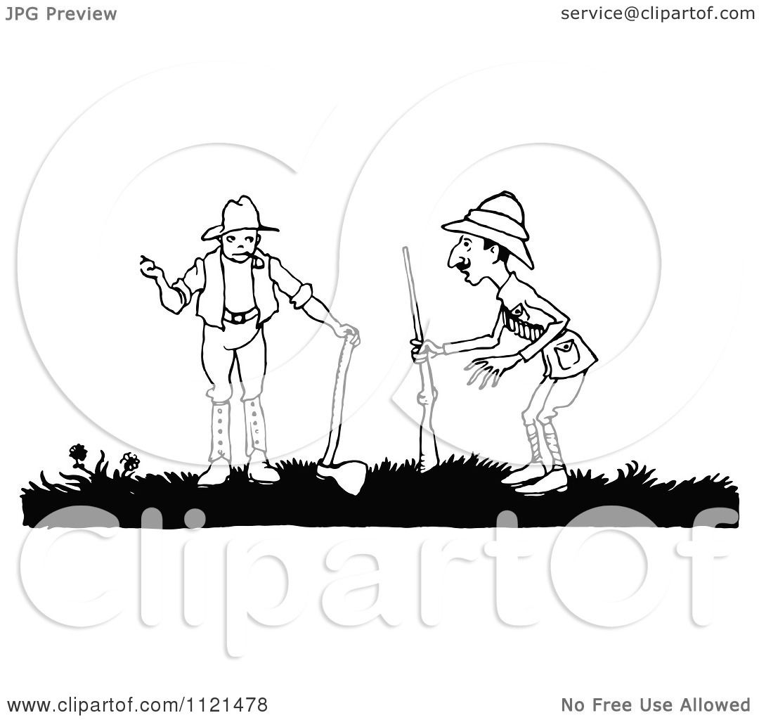 Clipart Of A Retro Vintage Black And White Hunter And