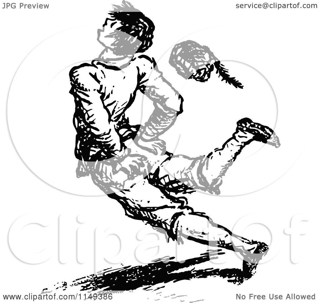 Clipart Of A Retro Vintage Black And White Hurt Boy