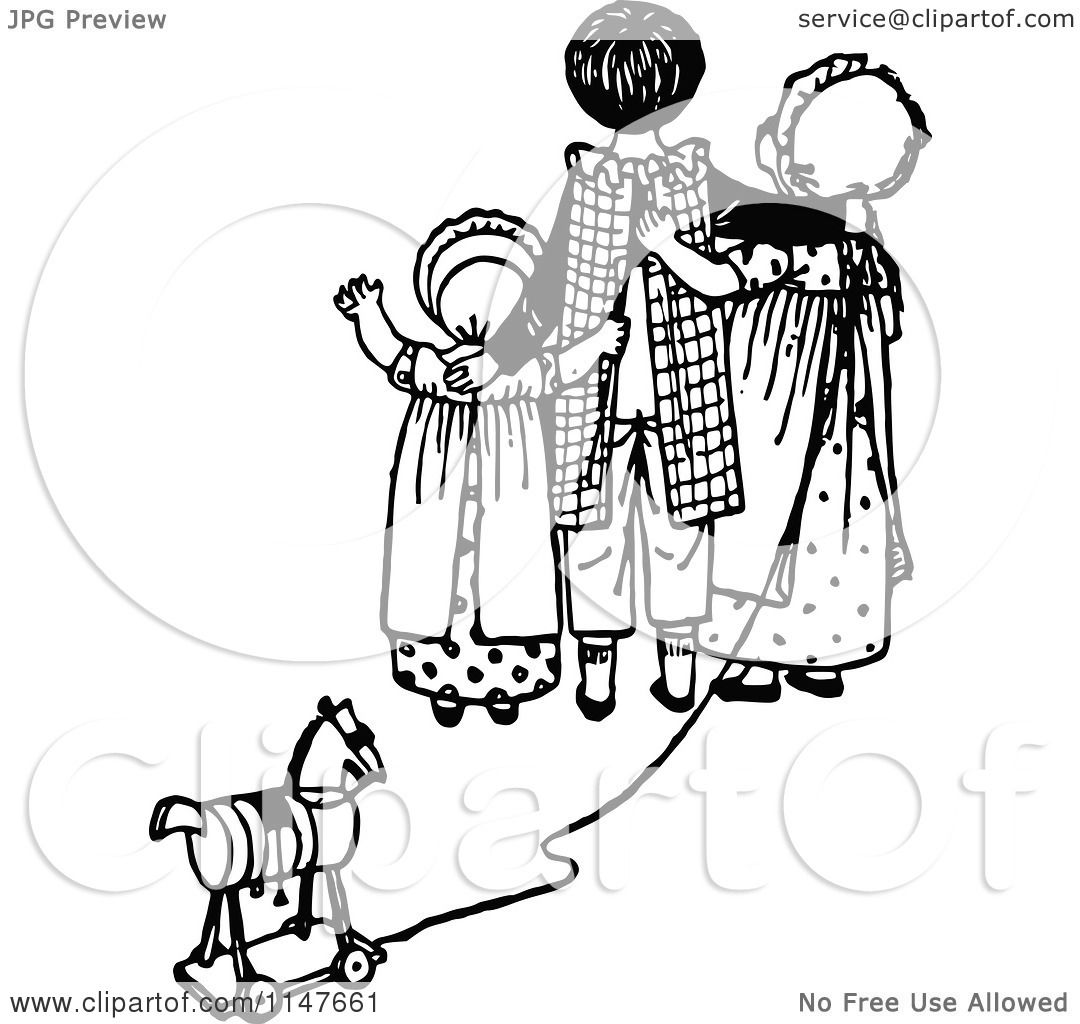 Clipart Of A Retro Vintage Black And White Kids With A Toy