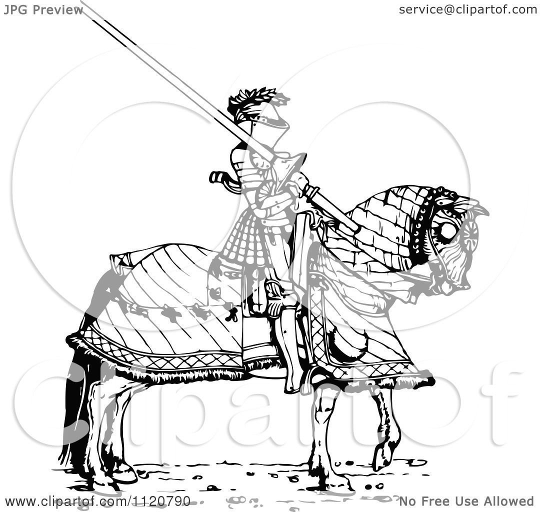 Clipart Of A Retro Vintage Black And White Knight And