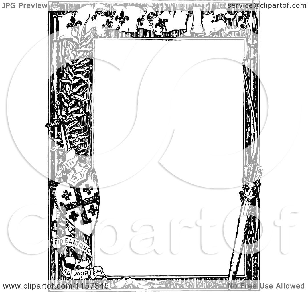 Clipart Of A Retro Vintage Black And White Knight Border