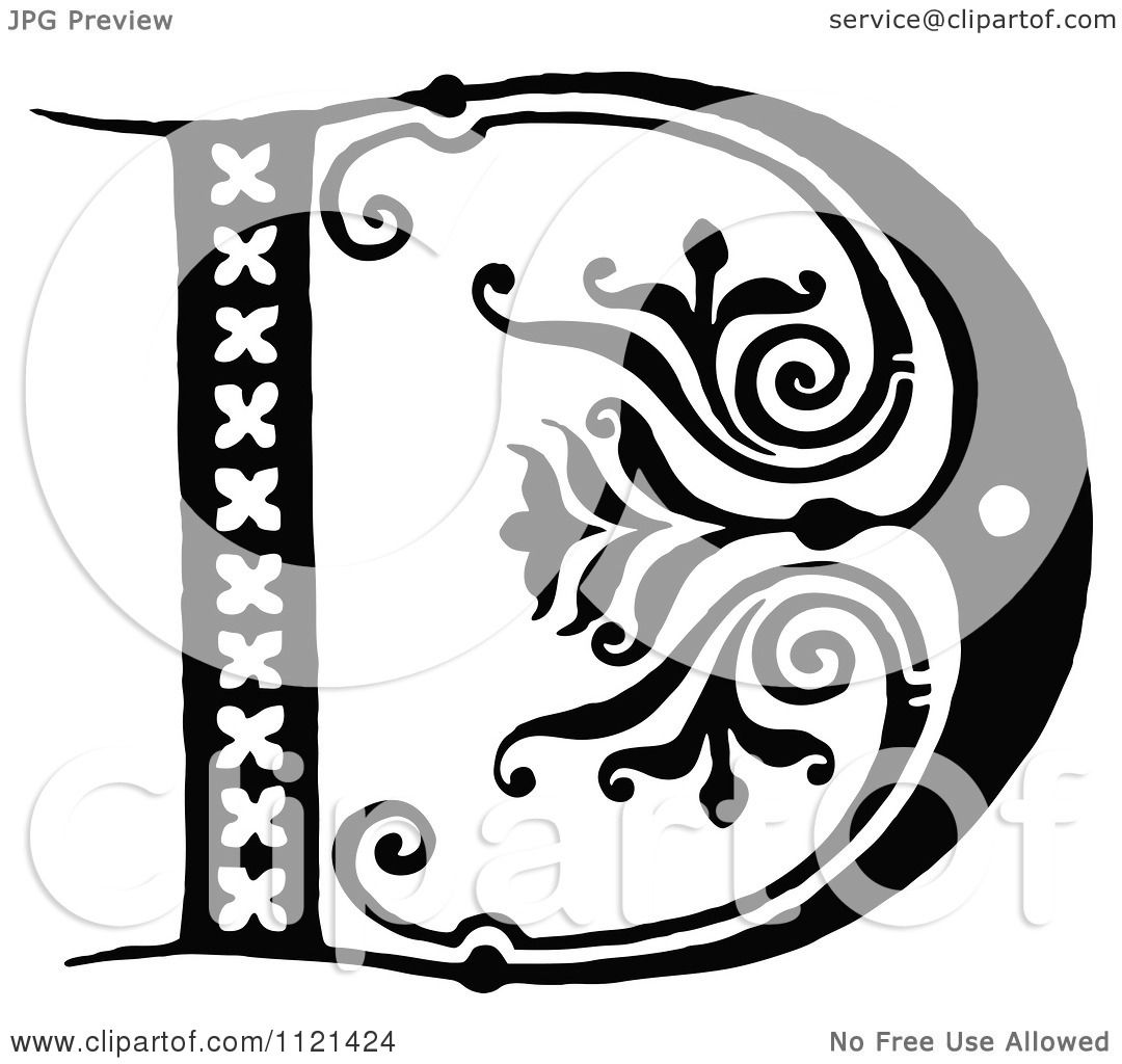 Clipart Of A Retro Vintage Black And White Letter D