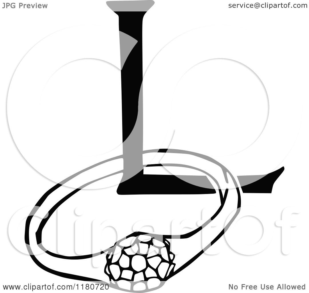 Clipart of a Retro Vintage Black and White Letter L and