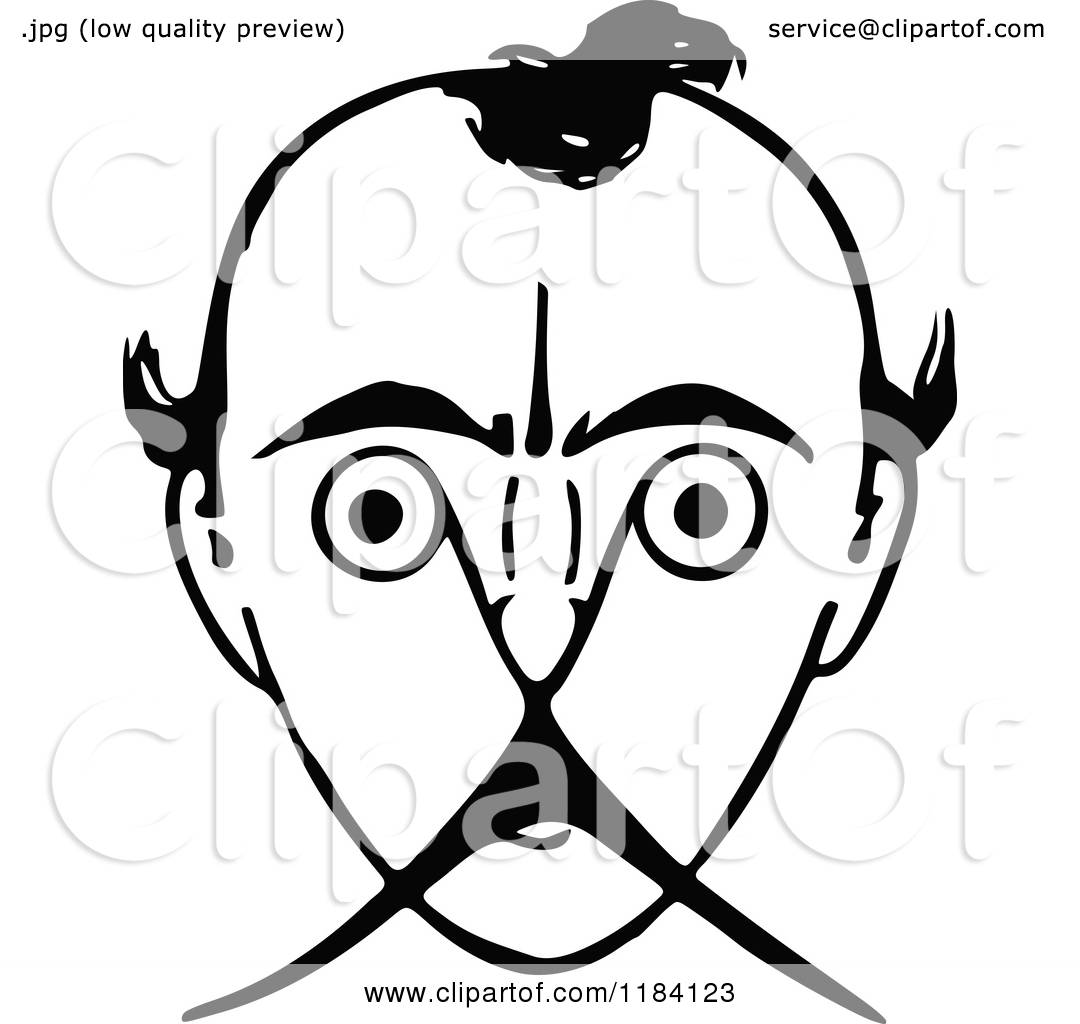 Clipart Of A Retro Vintage Black And White Mans Face With