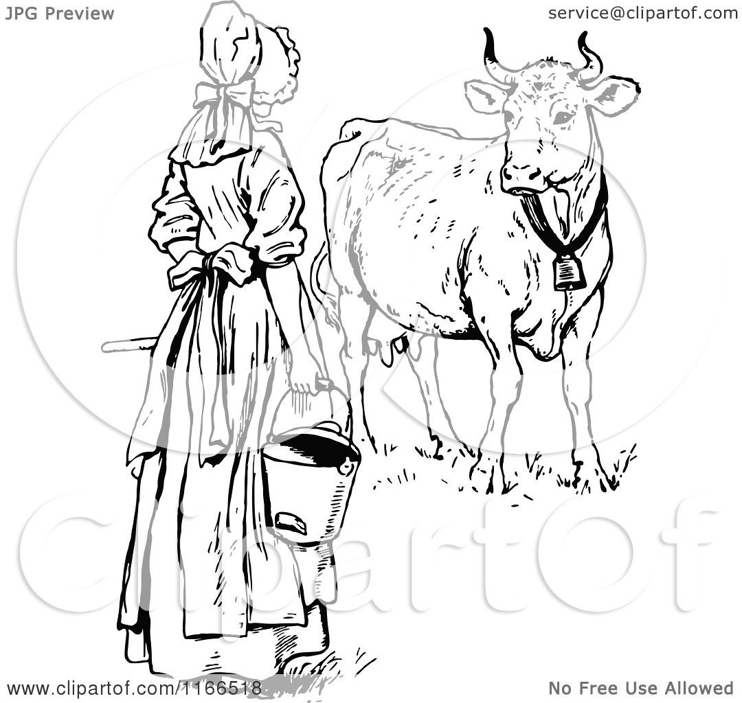 Clipart Of A Retro Vintage Black And White Milk Maid By A Cow