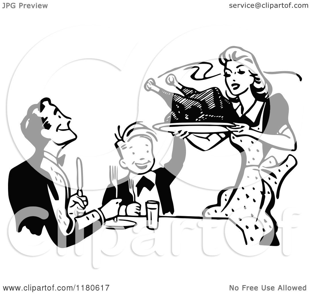 Clipart Of A Retro Vintage Black And White Mother Serving