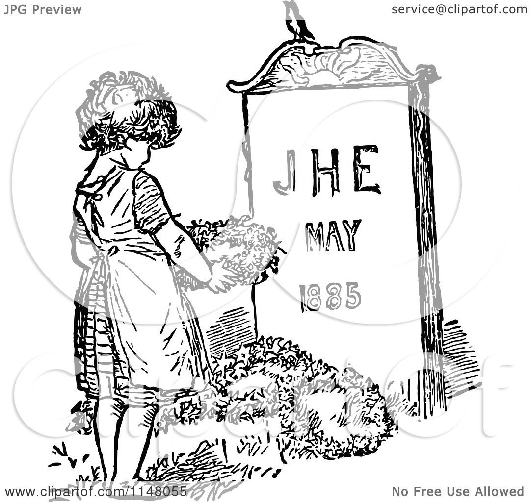 Clipart Of A Retro Vintage Black And White Mourning Child