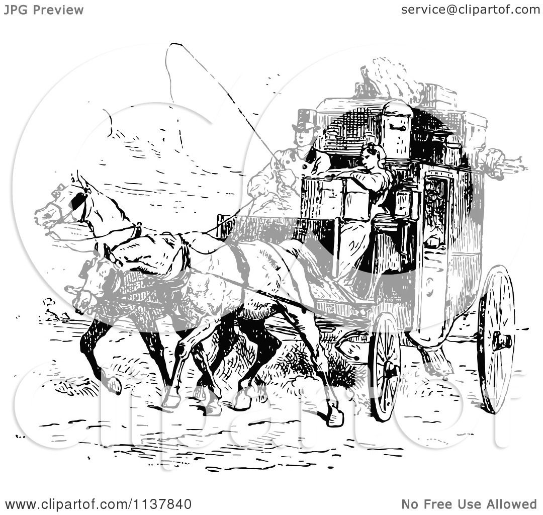 Clipart Of A Retro Vintage Black And White Moving Couple
