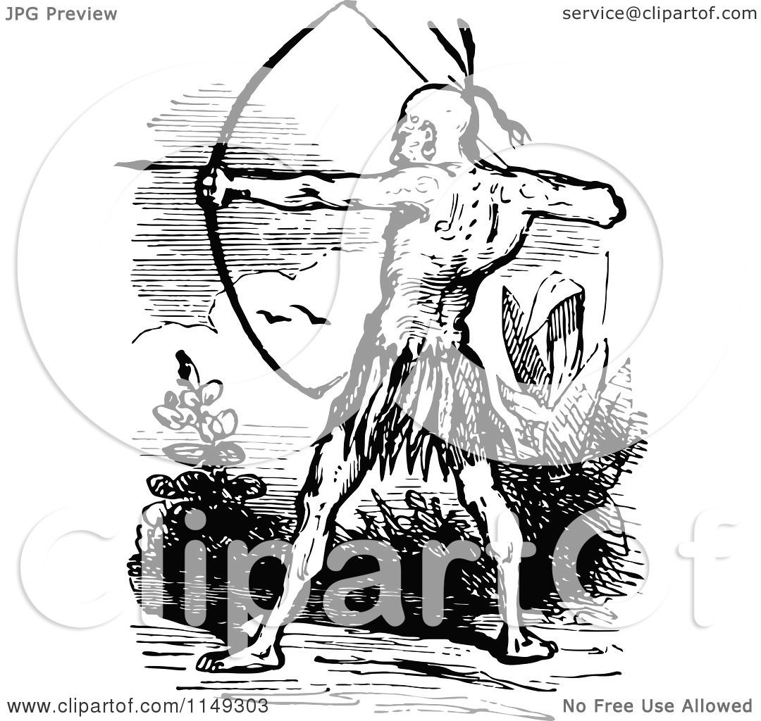 Clipart of a Retro Vintage Black and White Native American