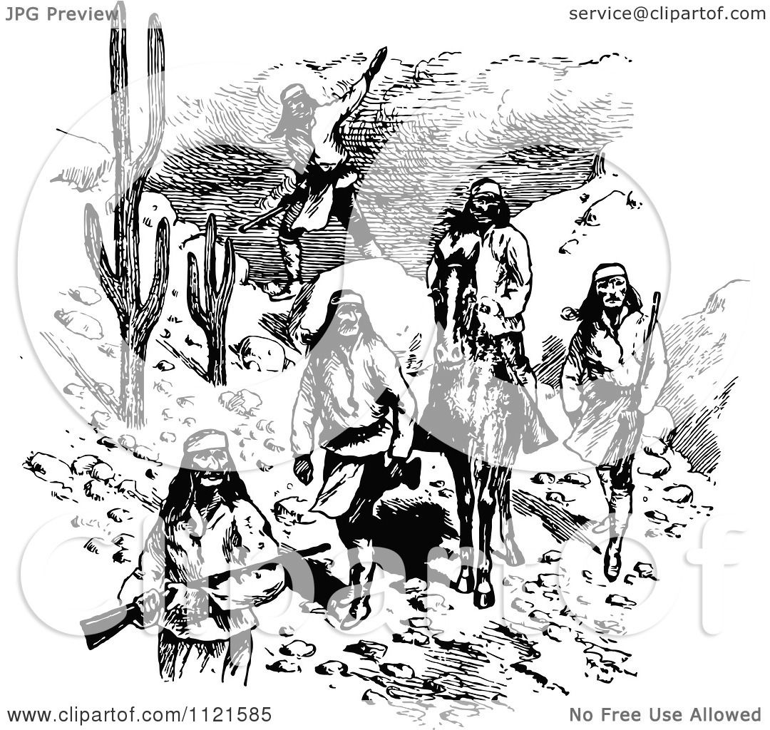 Clipart Of A Retro Vintage Black And White Native