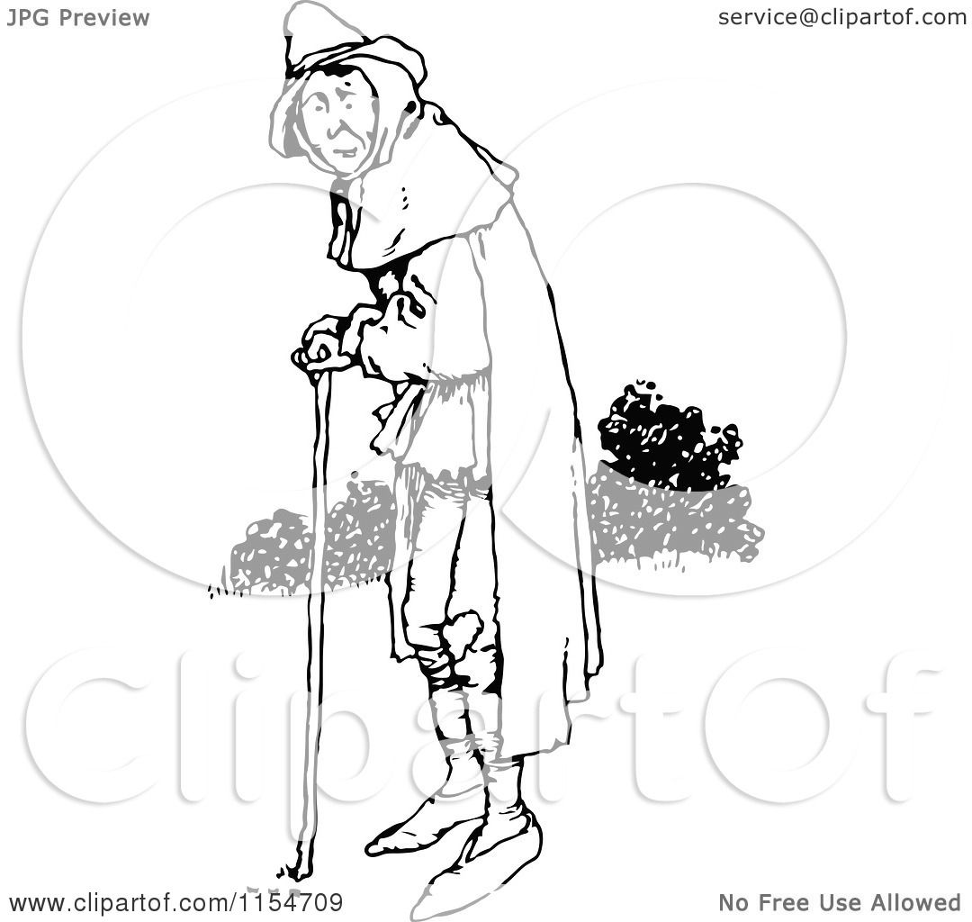 Clipart Of A Retro Vintage Black And White Old Man Using A