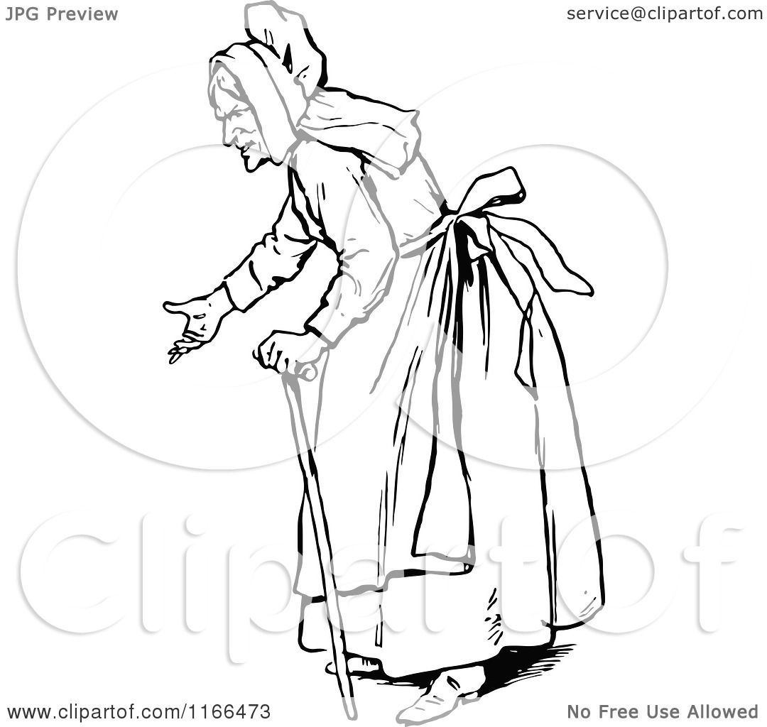 Clipart Of A Retro Vintage Black And White Old Woman Gesturing