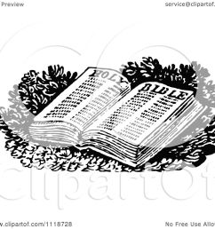 clipart of a retro vintage black and white open holy bible royalty free vector illustration by prawny vintage [ 1080 x 1024 Pixel ]