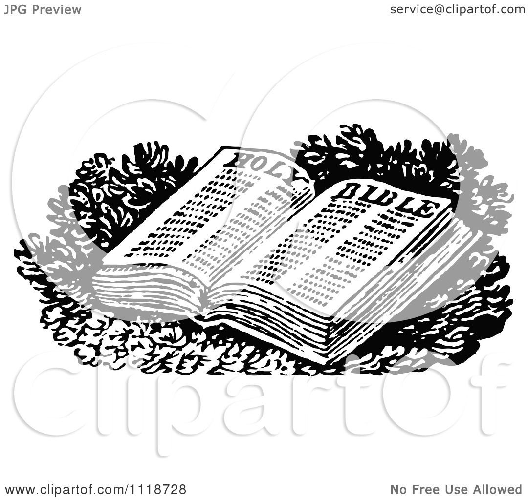 hight resolution of clipart of a retro vintage black and white open holy bible royalty free vector illustration by prawny vintage