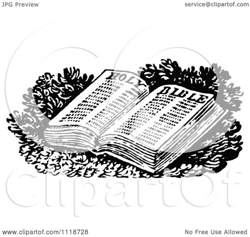 small resolution of clipart of a retro vintage black and white open holy bible royalty free vector illustration by prawny vintage