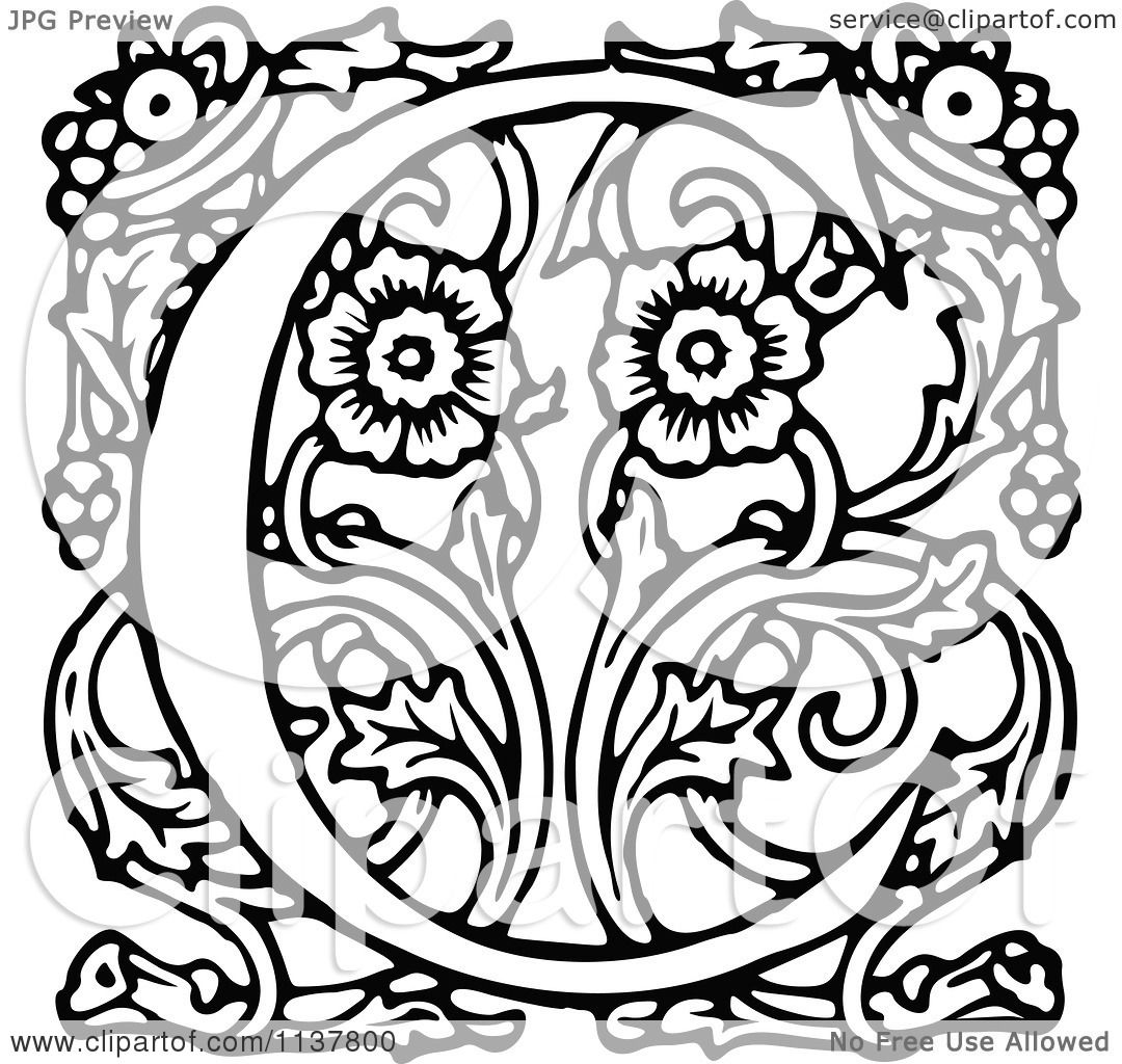 Clipart Of A Retro Vintage Black And White Ornate Letter C