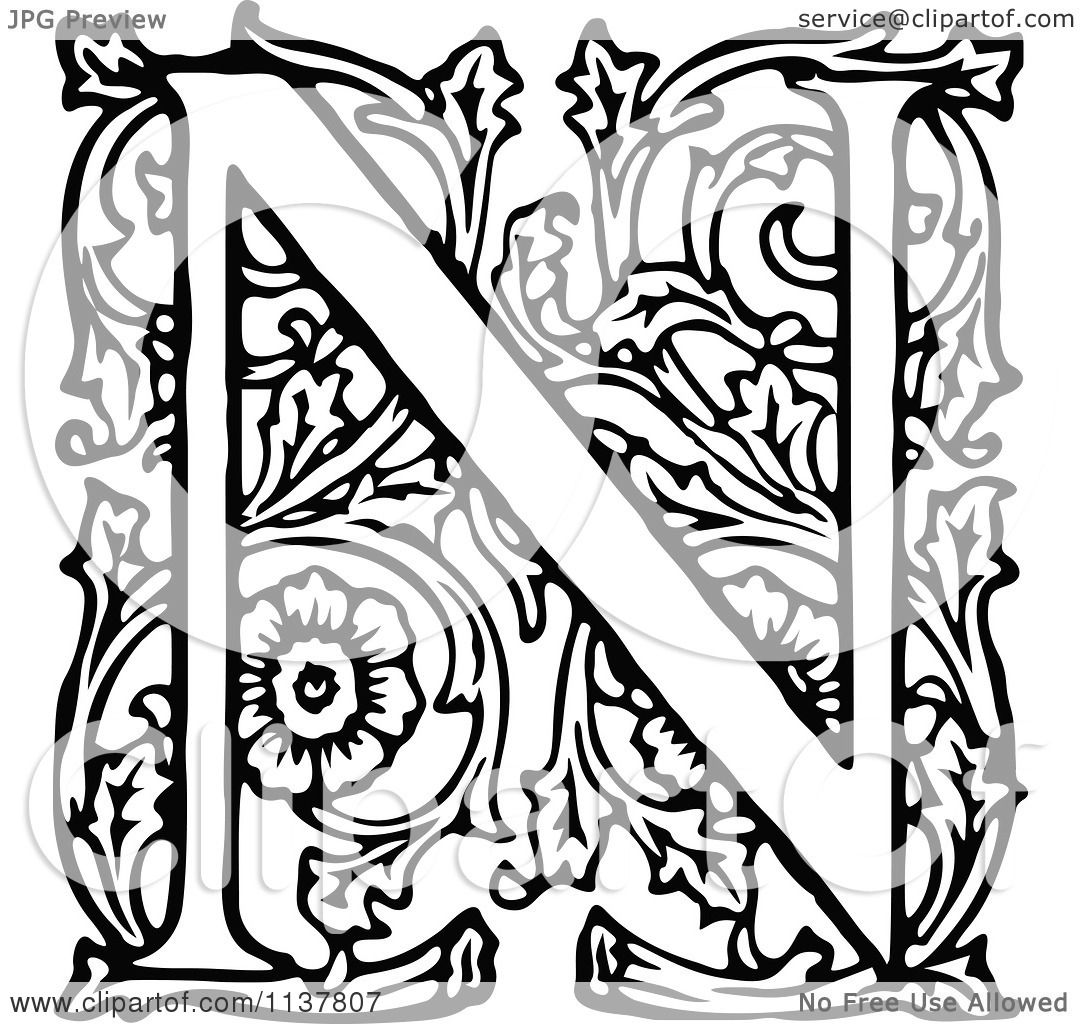 Clipart Of A Retro Vintage Black And White Ornate Letter N