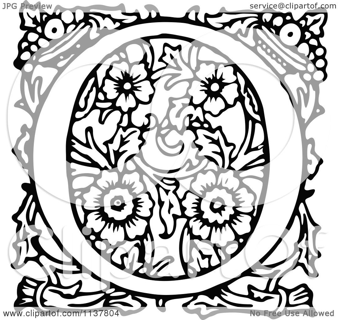 Clipart Of A Retro Vintage Black And White Ornate Letter O