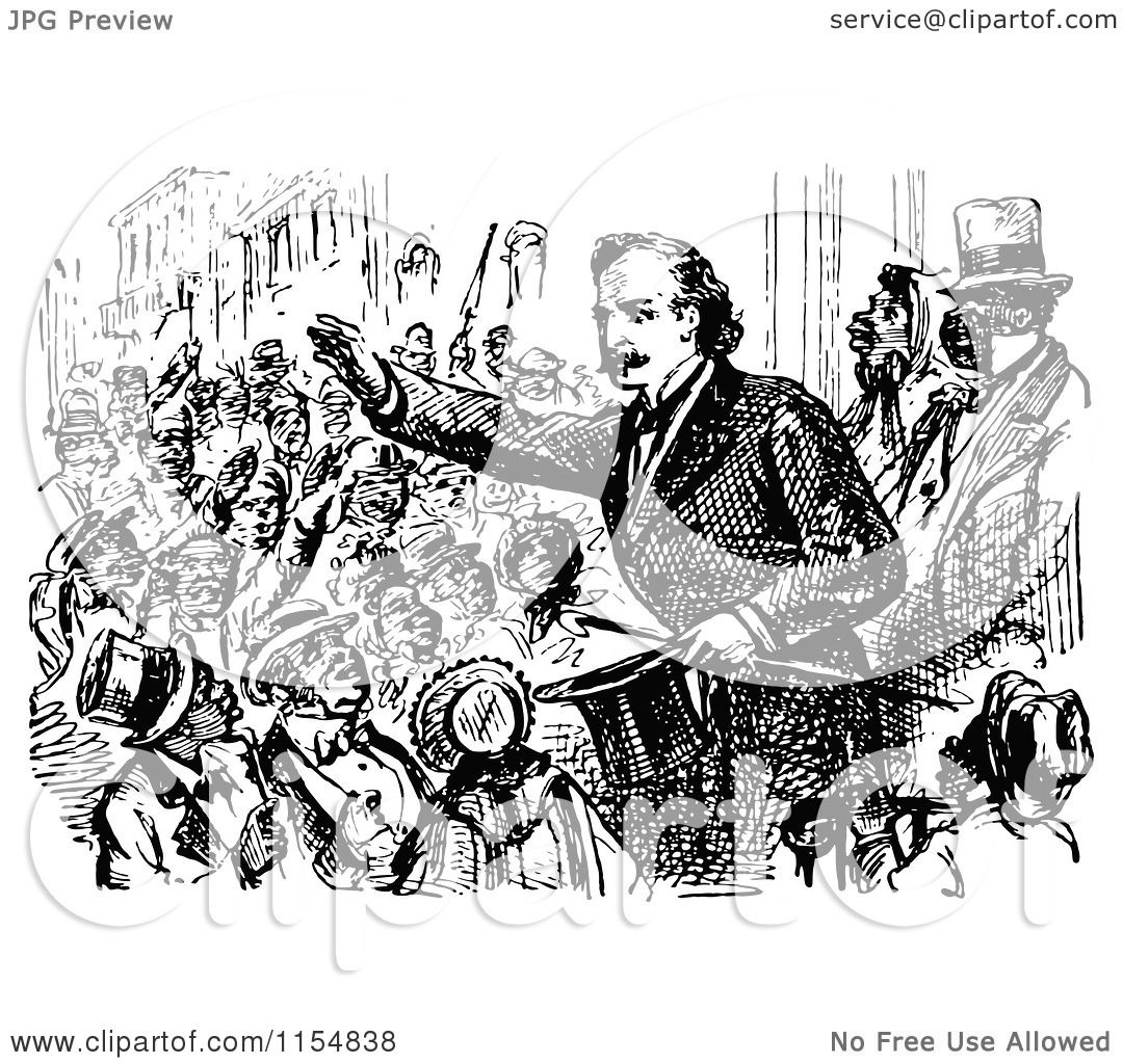 Clipart Of A Retro Vintage Black And White Politician And