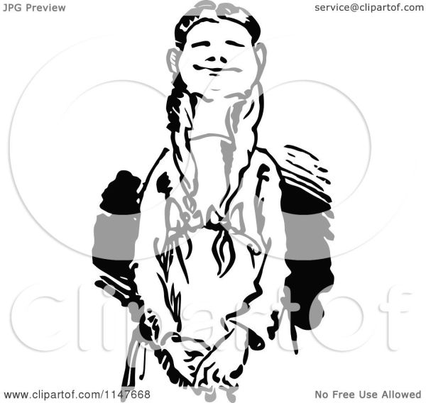 Clipart Of Retro Vintage Black And White Proud Girl
