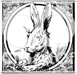 rabbit circle illustration clipart retro royalty prawny vector